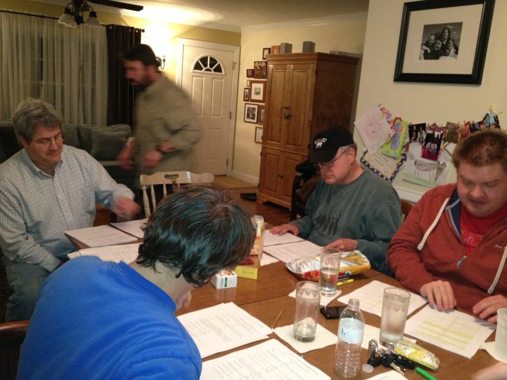 The WILDMAN cast preps for the read.
