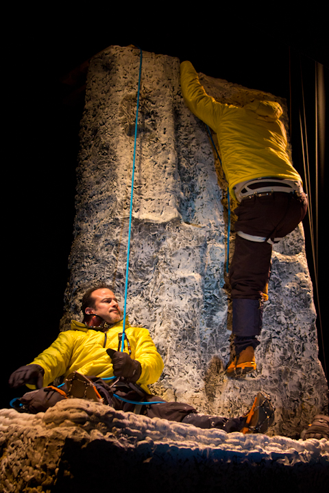 Stephen Grimm climbs after the lost rope, with Miguel Girona Jr. on belay.